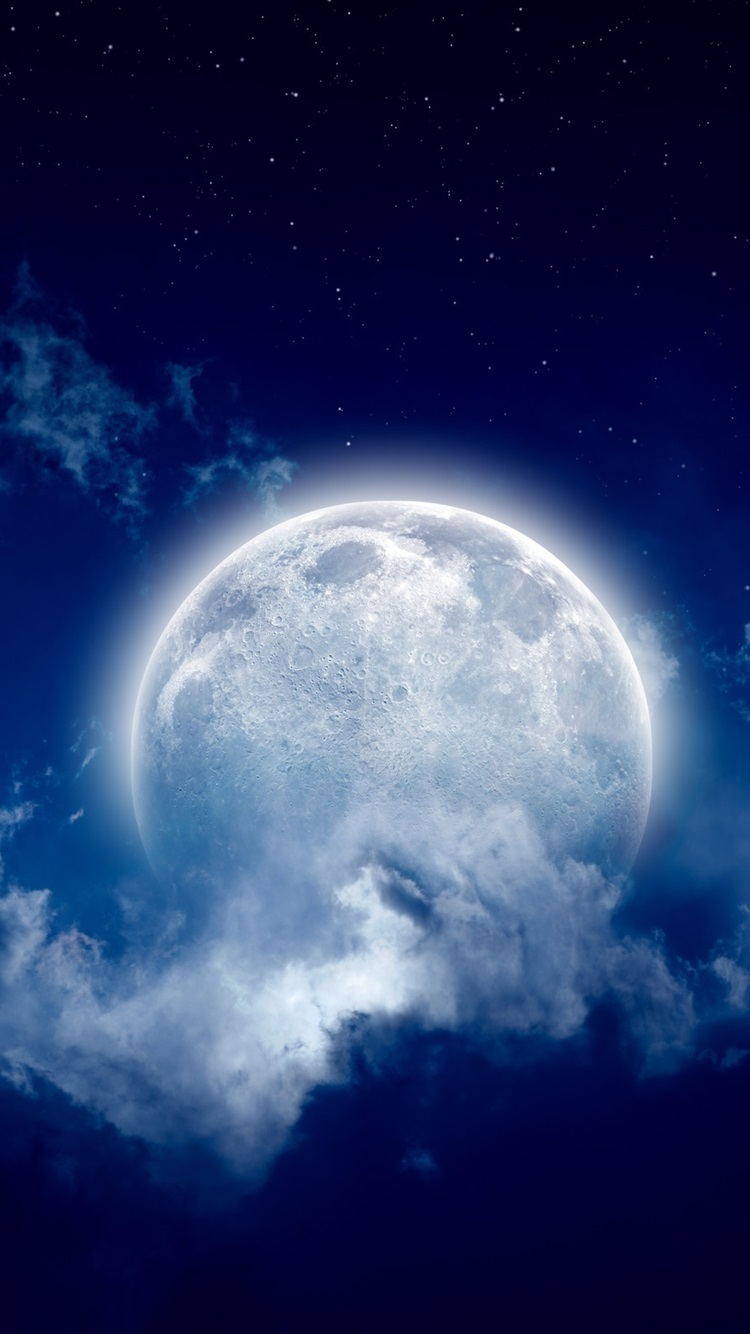 Moon Moonlight Night Cloudy Sky 750x1334 Iphone 8 7 6 6s Wallpaper Background Picture Image