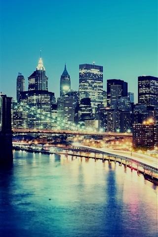 iPhone Wallpaper Night, city lights, skyscrapers, New York, USA