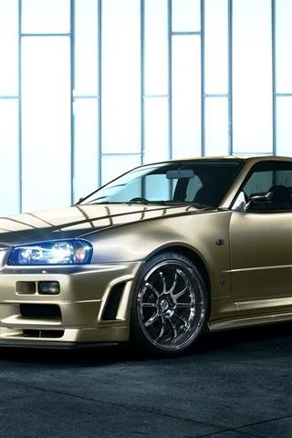 iPhone Wallpaper Nissan Skyline R34 golden car