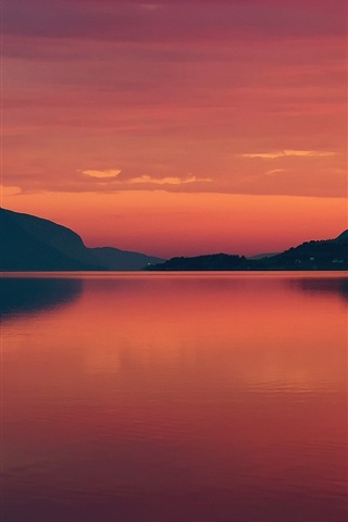 iPhone Wallpaper Norway, fjord, summer, morning, dawn, red sky