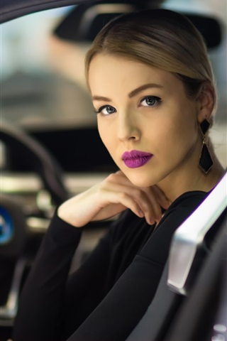 iPhone Wallpaper Pure girl, makeup, car