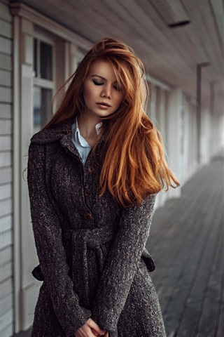 iPhone Wallpaper Sadness girl, redhead, coats, river