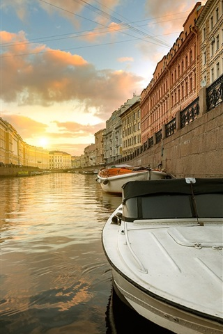 iPhone Wallpaper St. Petersburg, Moika river, Russia, boat, houses