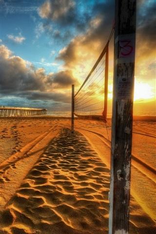 iPhone Wallpaper Sunset, beach, bridge, clouds