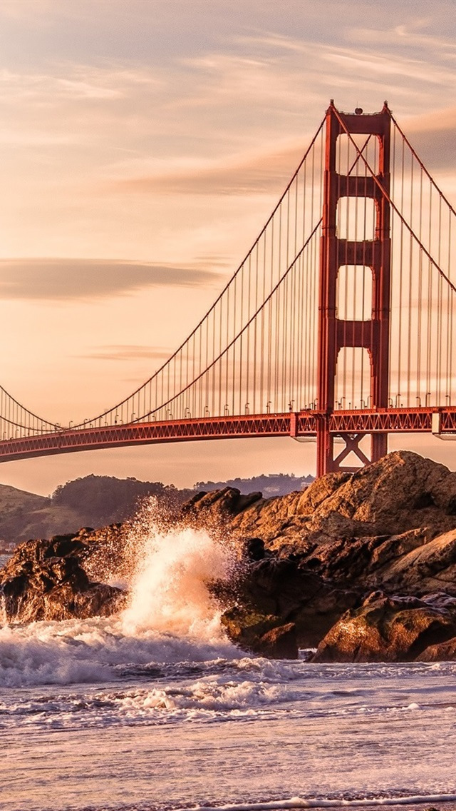 Usa San Francisco Golden Gate Bridge Felsen Wellen