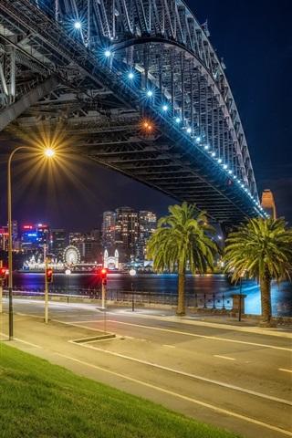 iPhone Wallpaper Australia, Sydney, night, bridge, river, lights, palm trees