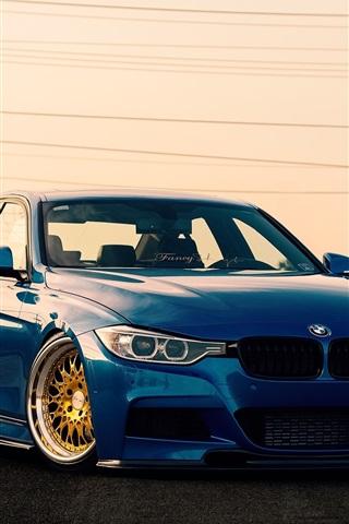 iPhone Wallpaper BMW 3 Series F30 sedan, blue car