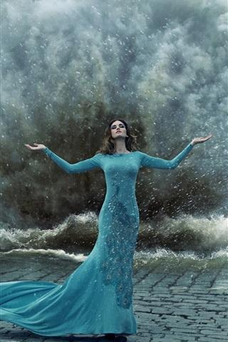 iPhone Wallpaper Blue peacock dress girl, gesture, storm, water splash