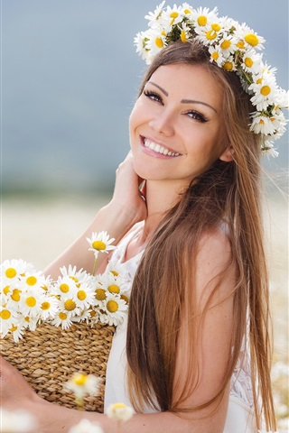 iPhone Wallpaper Brown hair girl, flowers, daisies, basket