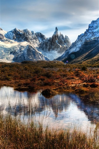iPhone Wallpaper Chile, Patagonia, mountains, rocks, snow, water