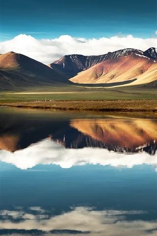 iPhone Wallpaper China, Tibet, mountain, lake, water reflection, sky, clouds