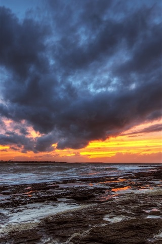 iPhone Wallpaper County Donegal, Ireland, evening, sunset, sea, clouds