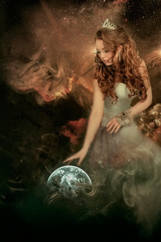 iPhone Wallpaper Creative pictures, angel, girl, globe, cosmos