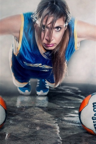 iPhone Wallpaper Creative pictures, girl, balls, sport