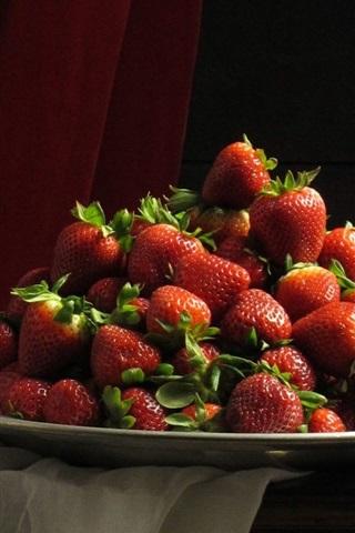 iPhone Wallpaper Desktop, strawberries, plates