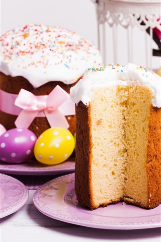 iPhone Wallpaper Easter, cake, eggs, spring, decoration