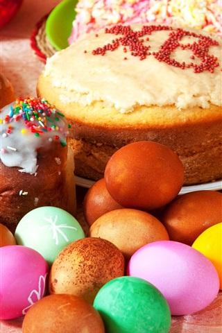 iPhone Обои Пасхальные праздники, яйца, торты