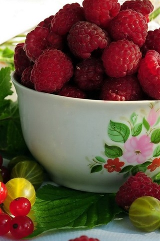 iPhone Wallpaper Fruits, raspberries, red currants, gooseberries, bowl