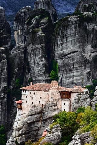 iPhone Wallpaper Greece, Meteora, mountains, house, rocks, trees