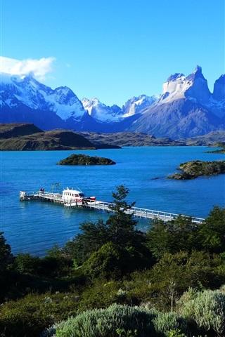 iPhone Wallpaper Lake Pehoe, Patagonia, Chile, sky, mountains, pier