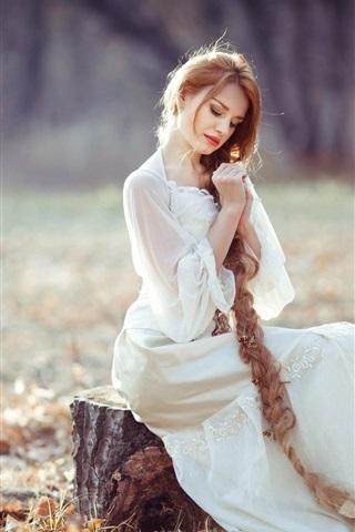 iPhone Wallpaper Long hair girl, blonde, stump, autumn