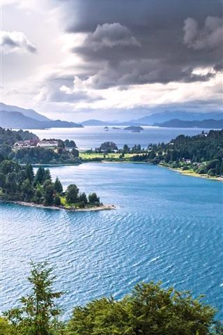 iPhone Wallpaper Nahuel Huapi Lake, Patagonia, Argentina, trees, mountains