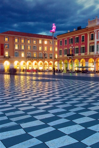 iPhone Wallpaper Place Massena, Nice, France, night, buildings, lights