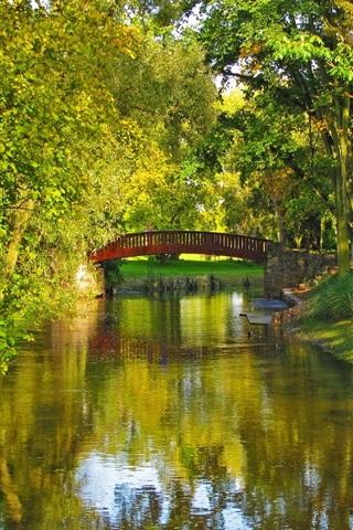 iPhone Wallpaper Poland, park, river, bridge, trees, grass
