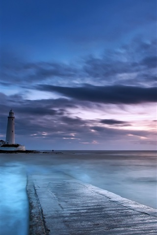 iPhone Wallpaper Sunset, sea, lighthouse, clouds