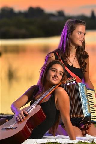 Wallpaper Two girls, guitar, accordion, music 2560x1600 HD