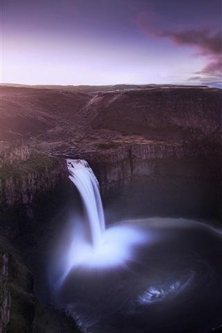 iPhone Wallpaper USA, Washington, valley, canyon, waterfall, night, moon