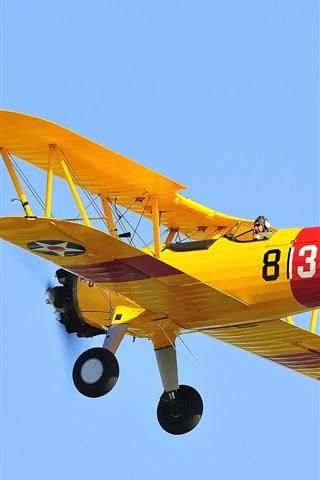 iPhone Wallpaper Airplane, biplane, pilot, retro, sky