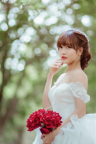 Beautiful Asian Girl Bride Rose 750x1334 Iphone 8 7 6 6s Wallpaper Background Picture Image