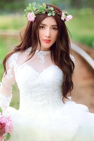 iPhone Wallpaper Beautiful bride, white dress girl