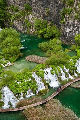 iPhone Wallpaper Beautiful landscape, green Paradise, tropical, river, waterfalls, bridge, cliff