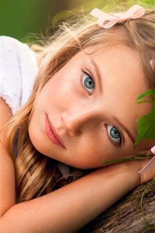iPhone Papéis de Parede Cabelo louro da menina, criança bonito