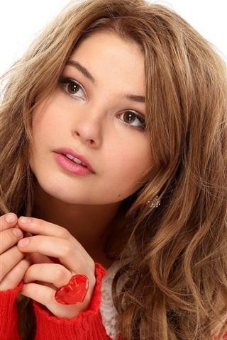 iPhone Wallpaper Brown hair girl, brown eyes, lips, cute, red sweater