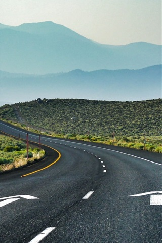 iPhone Wallpaper California Road, USA, curves, mountains