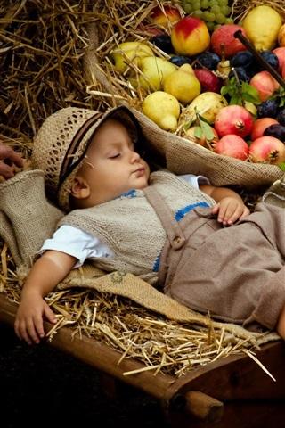 iPhone Wallpaper Cute boy sleeping, stroller, fruits