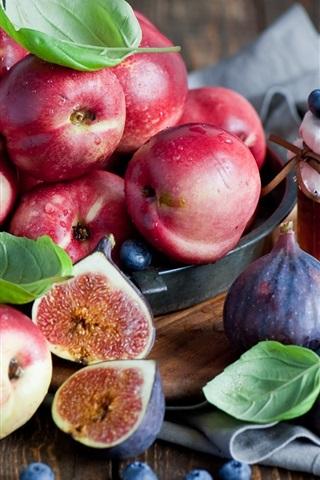 iPhone Wallpaper Fruits, berries, nectarines, figs, honey