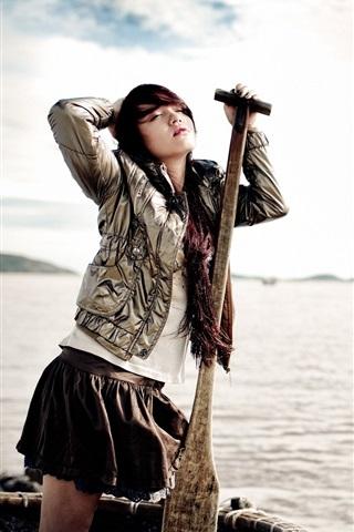 iPhone Wallpaper Girl, lake, boat