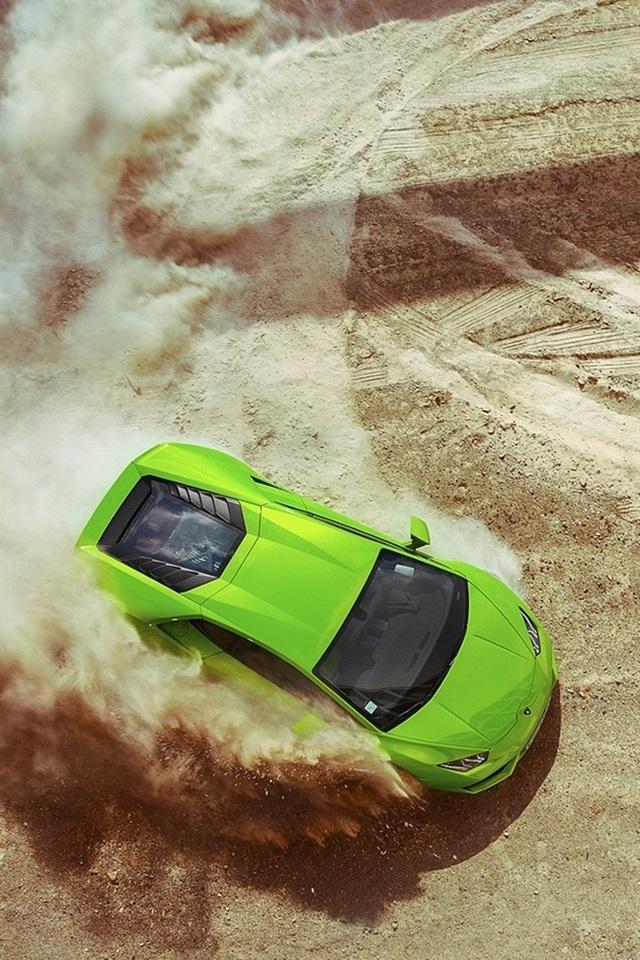 Lamborghini Huracan LP640,4 green supercar, drift, dust