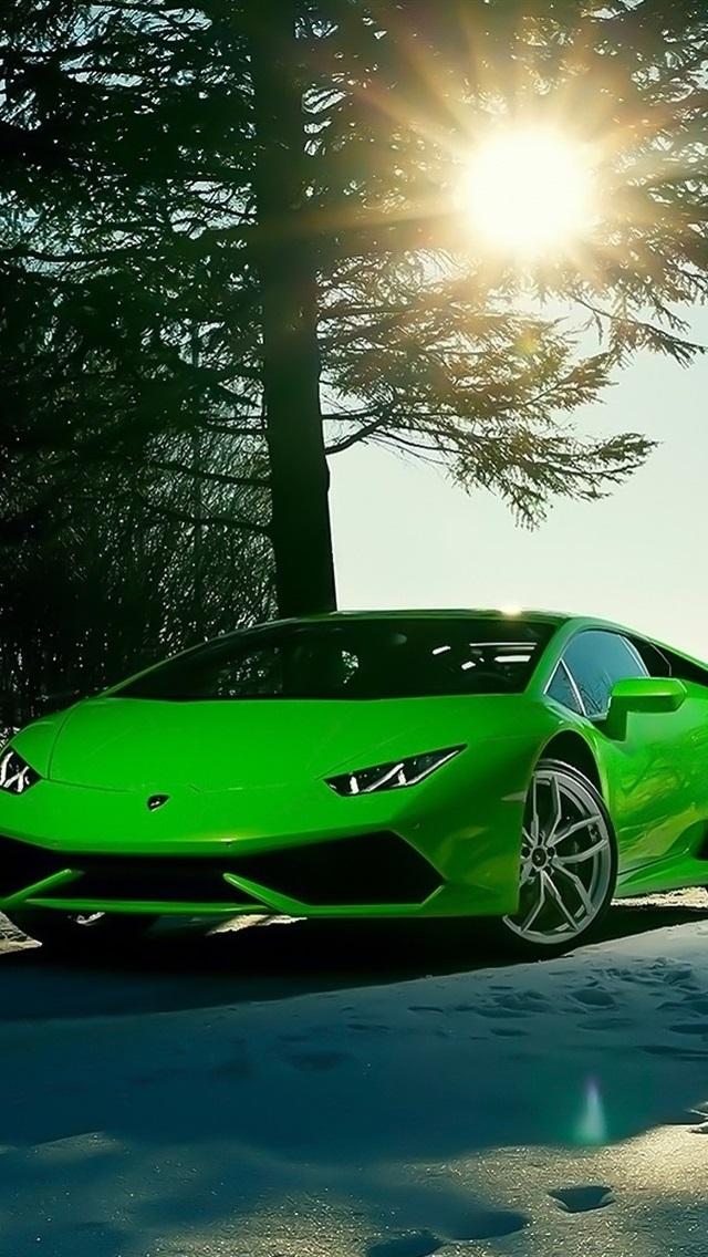 Lamborghini Huracan Lp640 4 Green Supercar Winter Sun