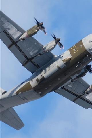 iPhone Papéis de Parede Lockheed Martin, C-130J Super Hercules, transporte militar, plano, céu