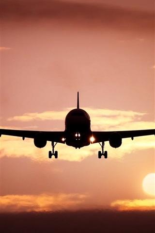 iPhone Wallpaper Plane, silhouette, skyline, sun, sunset