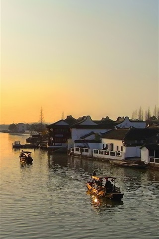 iPhone Wallpaper River, dawn, boats, houses, town