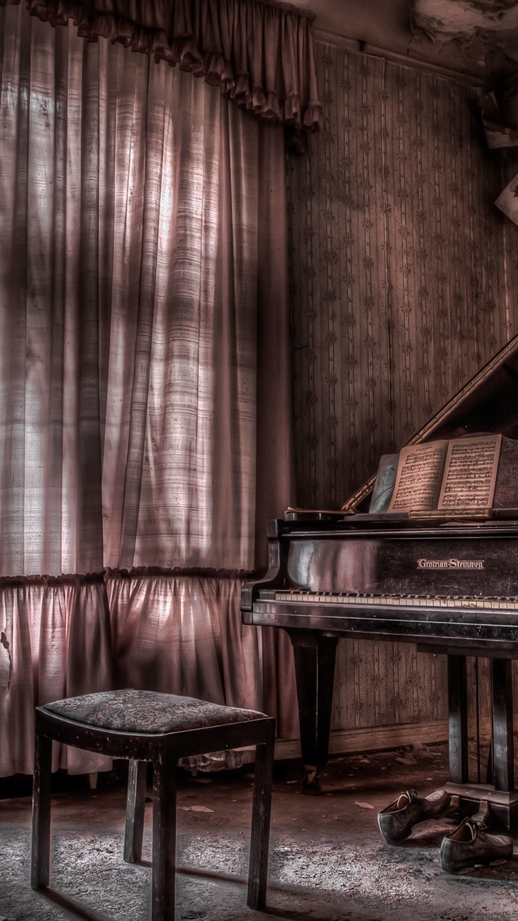 Room, piano, music, dust 750x1334