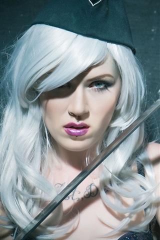 iPhone Wallpaper White hair girl, cap, sword