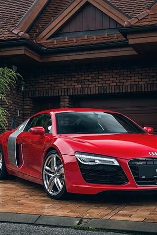 iPhone Wallpaper Audi R8 red car, house, garage