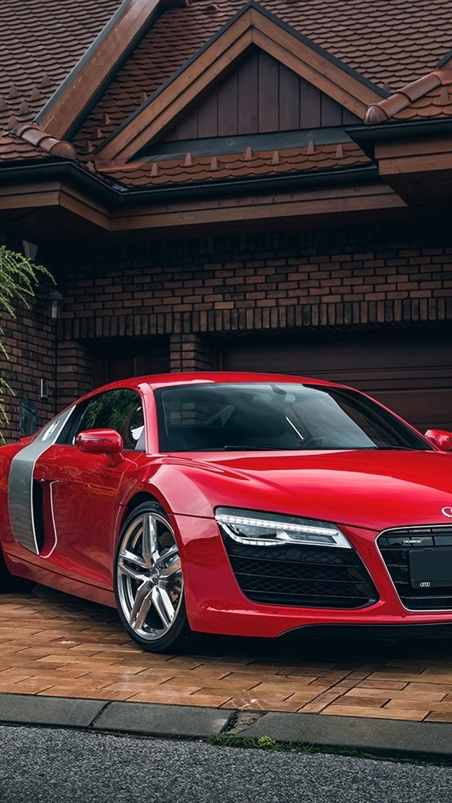 Audi R8 Red Car House Garage 640x1136 Iphone 5 5s 5c Se Wallpaper Background Picture Image